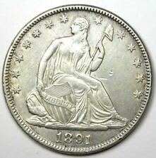 1891 Seated Liberty Half Dollar 50C - AU Detail - Rare Date Coin!