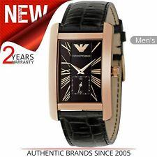 Emporio Armani Men's Watch AR0168¦Black Rectangle Dial¦Classic Leather Strap