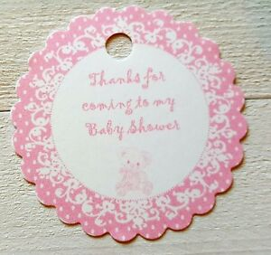 BABY SHOWER FAVOUR TAGS, PINK ROUND TEDDY BEAR DESIGN, PACK OF 12 PERSONALISED