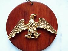 vtg AMERICAN EAGLE PENDANT 4th of JULY on Round WOODEN DISK 2 Inches Diameter