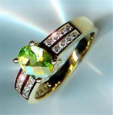 Gen Peridot 18kt Yg Ring New Right Hand 16 Diamond &
