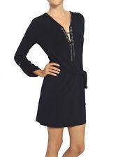 $ 120 Michael Kors Black Long Sleeve Chain Tab Sleeve Belt Tie Dress Sz XL (362)