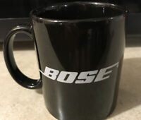 Rare Vintage BOSE Black with White LOGO Coffee Tea Cappucino Mug Cup Holds 12 oz
