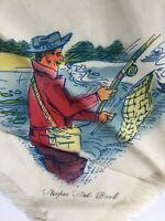 Vintage Sleeper State Park Souvenir Caseville MI, Fisherman Handkerchief