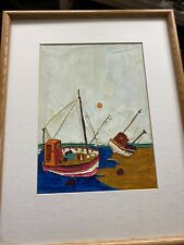 Vintage French Artist REMS Oil PAINTING SAIL fishing Boats