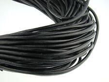 Lederschnur (ab 1,14€/m) Rund 5 mm. Schwarz. Lederband. Länge: wählbar