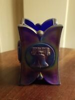 JOE ST. CLAIR COBALT CARNIVAL glass TOOTHPICK HOLDER bicentennial