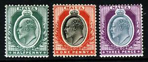 MALTA King Edward VII 1903-04 A Watermark Crown CA Group SG 38, 39 & 42 MINT