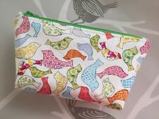 Handmade Bird Print Make-Up Bag, Zip Pouch, Lined & Padded, Green Zip