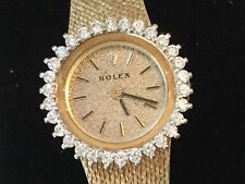 Rolex ladies 14k gold mesh vintage bracelet watch with 30-diamond bezel