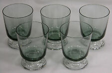 FOSTORIA HORIZON JUICE GLASSES SPRUCE & CRYSTAL FOOT (5) * *