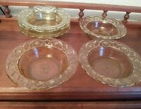 Set of seven vintage Federal Rosemary Amber Depression Glass Berry Bowls