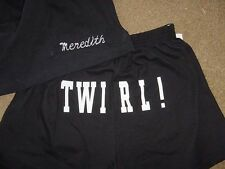Personalized Black Twirl Baton Twirler Butt shorts Girls Toddler Youth Sizes