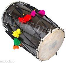 BUY DHOL DRUMS~PUNJABI BHANGRA BLACK MANGO WOOD~HAND MADE INDIAN~FREE! BELT