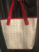 Saks Fifth Avenue red & white tote bag- Faux Leather- Snap closure