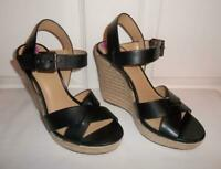 Michael Kors Viola Womens Leather Cross Ankle Strap Wedge Sandal Platform Shoes