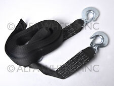 "B2 - 2""x30' 4 Tons Car Tow Cable Towing Strap Rope with Hooks Heavy Duty 30 Ft"