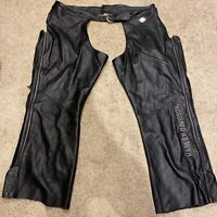Harley Davidson Black Leather Chaps RN103819/CA03402 Sz  3W Logo Embroidered