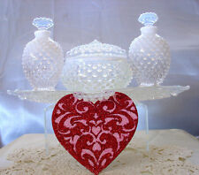 "FENTON GLASS""40s""FRENCH WHITE""OPALESCENT""HOBNAIL""MINT""PERFUME+POWDER+TRAY~VANITY"