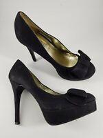 New Look size 4 (37) black faux suede bow front platform stiletto court shoes