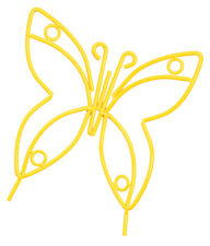 YELLOW BUTTERFLY Wrought Iron Garden Stake - Amish Handmade Lawn Wall Decor USA