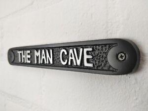 MAN CAVE DOOR WALL SIGN PLAQUE SHED GARAGE VINTAGE CAST METAL DAD BIRTHDAY GIFT