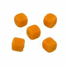 Opaque Orange Shiny 7mm Glass Cube Beads 2mm Hole Pack of 5 (Q98/2)