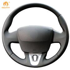 DIY Black Leather Steering Wheel Cover for Renault Fluence Fluence ZE 2011