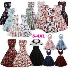 Women 50s Rockabilly Dress Vintage Style Swing Pinup Retro Housewife Party Dress
