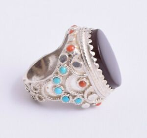 Handcrafted Sterling Silver Kabadi Agate, turquoise & red coral Men Ring