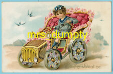 Valentine'S Day ~ Boy Drives Car Tuck Series No. 11 Floral Missives ~ Postcard