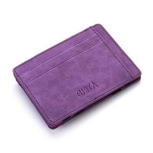 Unisex Credit Card Holder Wallet Ultra Slim Money Clip Billfold Purse PU Leather