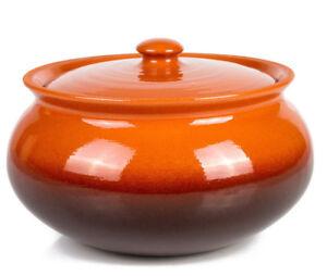 Large Baking Stewing Stoneware Ramekin Clay Cooking Pot w/Lid Casserole Dish