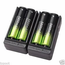 4PCS SKY WOLF EYE 5800mAh Li-ion 18650 3.7V Rechargeable Battery   Dual Charger