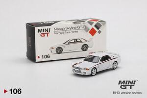 MINI GT 1:64 Mijo Exclusives Nissan Skyline GTR R32 Nismo S-Tune White