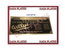10X Brand New Willys & Overland Data Plate Acid Etched Brass 1934-1941