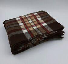 Faribo Challenger Acrylic Blanket Brown Plaid Fringe W/ Orig Bag 53x49 USA VTG