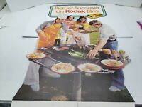 "Vintage 1970's Kodak Advertising Standing Cardboard Sign Picture Summer 35""x23"""