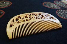 Japanese hair comb Tsuge Boxwood Deer and Maples design handmade JAPAN F/S