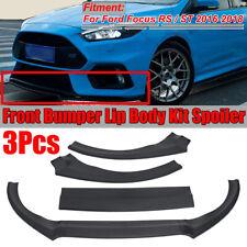 For Ford Focus ST RS 2016- 2018 Matte Black Front Bumper Lip Protector Trim 3pc