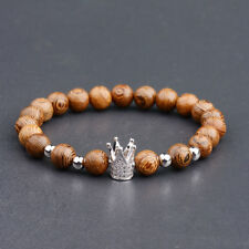 8mm Natural Wooden Bead Cubic Zirconia Silver Crown Men's Reiki Bracelets Gift