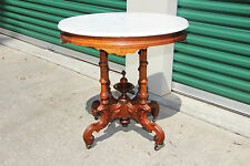 Fancy Renaissance Revival Walnut Victorian Marble Top Table  ~Ca1870