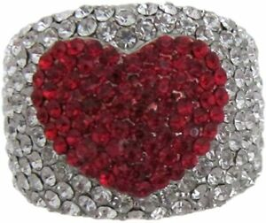 Stunning Chunky Red Valentines Love Heart Crystal Ring - UK Large