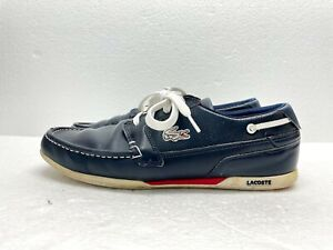 Lacoste Mens Dreyfus 7-20spm8121121 Sneakers Boat Shoes Dark Blue Size 8.5