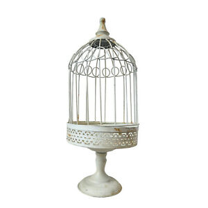 Handmade Metal Birdcage with Shabby Chic White Finish, Suitable for Decoration