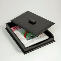 """""""GREENWICH"""" BLACK """"CROCO"""" LEATHER COVERED LETTER TRAY - COVERED DOCUMENT BOX"""