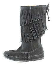Minnetonka Women's Calf Hi 2 Layer Angled Fringe Inside Zip Boot Black Size 6 M