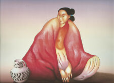 "R.C.Gorman Print ""Navajo Women in Red Blanket,Small Jar ""-Sourhwest Art-11 x 14"