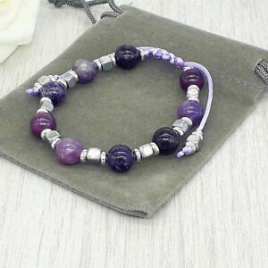Handmade Adjustable Lepidolite Gemstone Cord Bracelet & Velvet Pouch. 6/8mm.