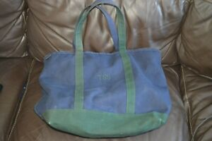 Lands End Blue Green Canvas Tote Bag Zip Close Large 23x15 Vintage Made in USA